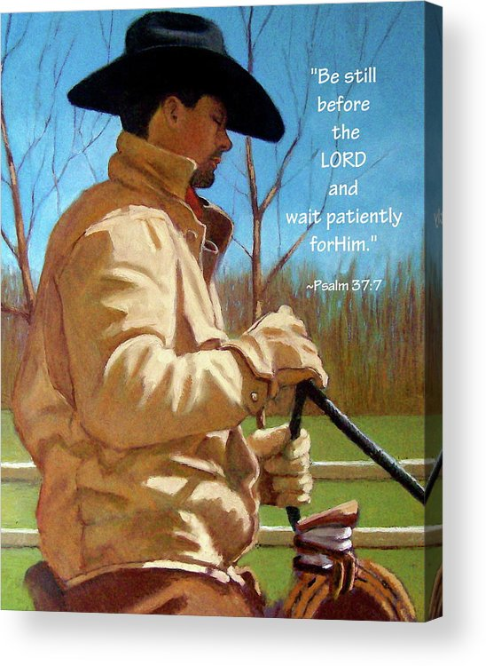 Cowboy Acrylic Print featuring the pastel Cowboy In Pastel With Scripture Verse by Joyce Geleynse