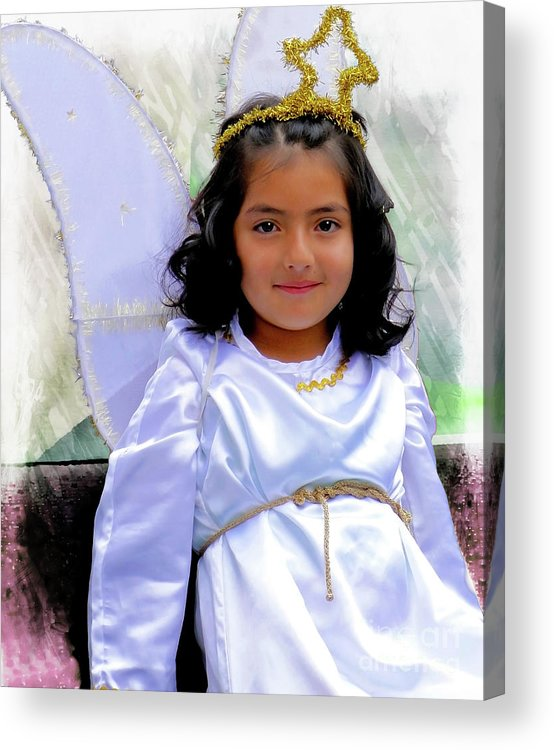 Girl Acrylic Print featuring the photograph Cuenca Kids 1037 by Al Bourassa