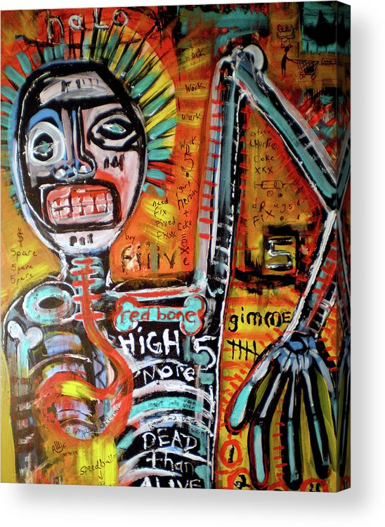 Rwjr Acrylic Print featuring the painting Death Of Basquiat by Robert Wolverton Jr