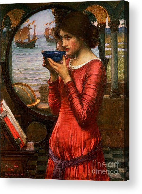 Boat; Globe; Poison; Blue Glass; Pre-raphaelite; Allegorical; Red Dress Acrylic Print featuring the painting Destiny by John William Waterhouse