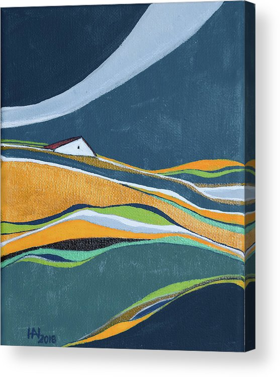 Abstract Acrylic Print featuring the painting Distant House by Aniko Hencz