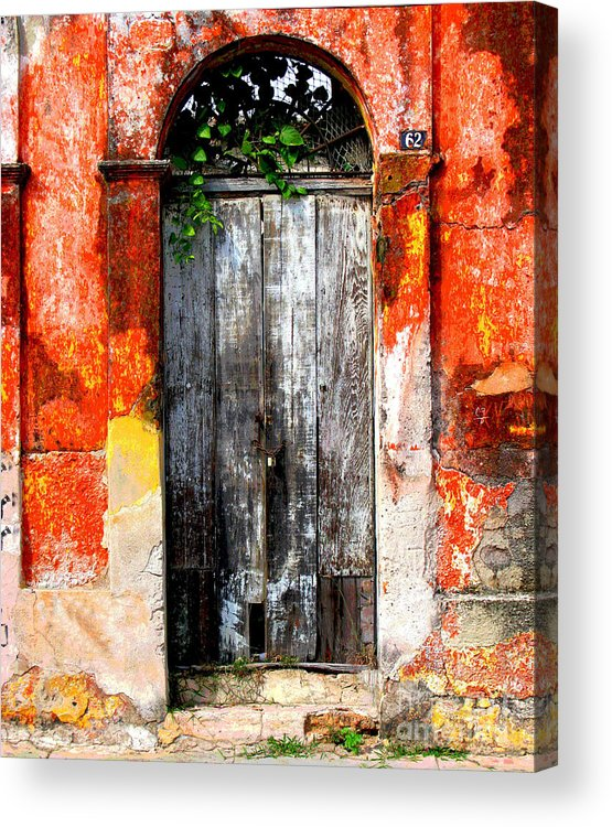 Darian Day Acrylic Print featuring the photograph Door At The Red Corner By Darian Day by Mexicolors Art Photography