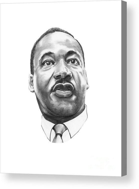 Portrait Acrylic Print featuring the drawing Dr. Martin Luther King by Murphy Elliott