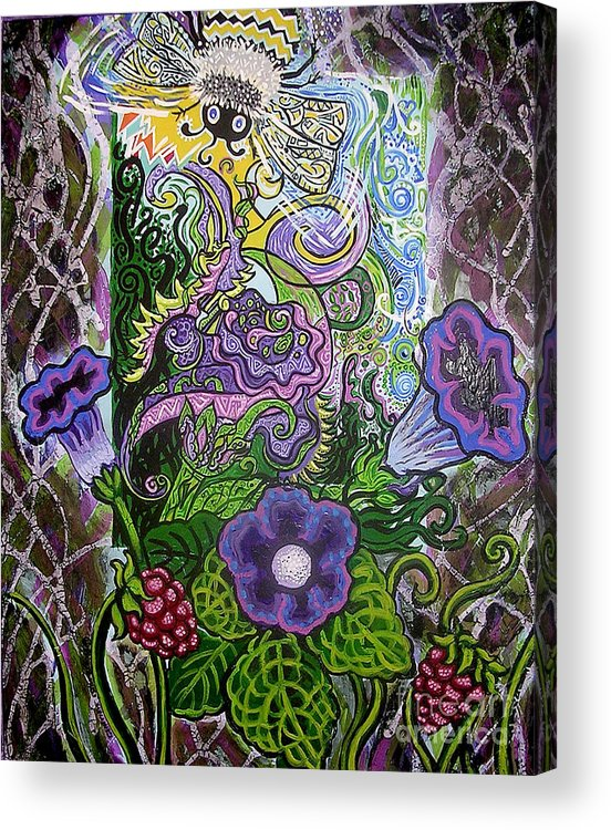 Bee Flowers Acrylic Print featuring the painting Dream Of The Bee by Genevieve Esson