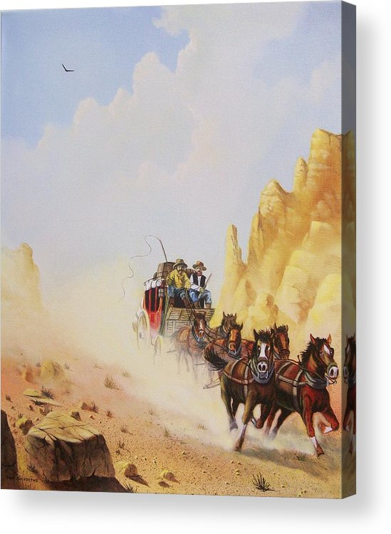 Western Acrylic Print featuring the painting Express Run by Don Griffiths