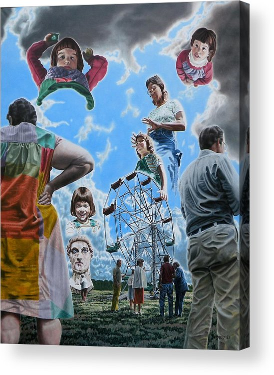 Woman Acrylic Print featuring the painting Ferris Wheel by Dave Martsolf