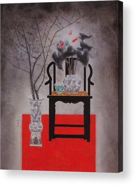 Flowers Paintings Acrylic Print featuring the painting Flowers In Vase-black Flowers by Minxiao Liu