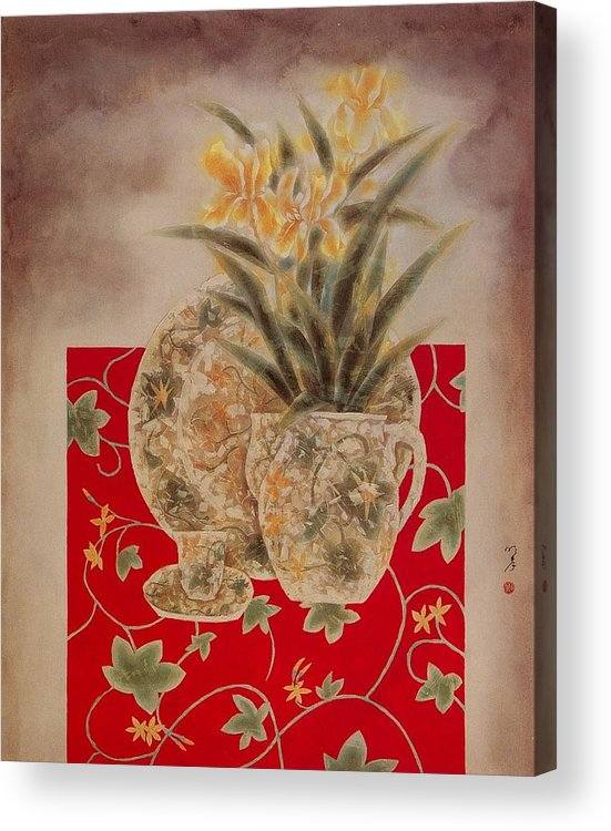 Flowers Painting Acrylic Print featuring the painting Flowers In Vase-nightngales by Minxiao Liu