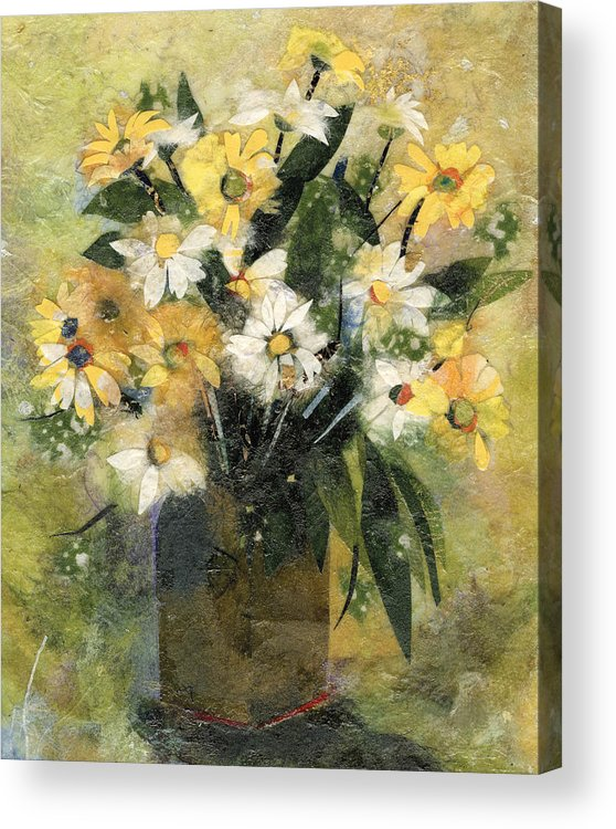 Limited Edition Prints Acrylic Print featuring the painting Flowers In White And Yellow by Nira Schwartz