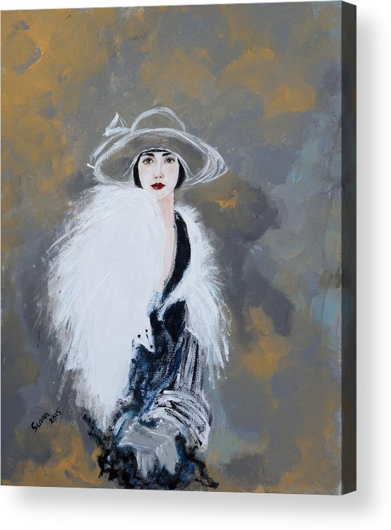 Lady With White Fur Acrylic Print featuring the painting Foxy Lady by Susan Adams