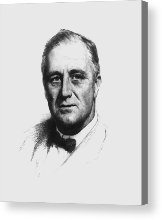 Franklin Roosevelt Acrylic Print featuring the painting Franklin Roosevelt by War Is Hell Store
