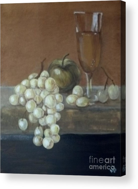 Grapes Acrylic Print featuring the painting Fruit And Wine by Saundra Johnson