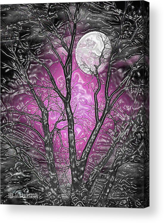 Full Moon Behind Black Glossy Tree Branches With A Lavender Sky Background Acrylic Print featuring the mixed media Full Moon Watching by Deb Jazi Raulerson