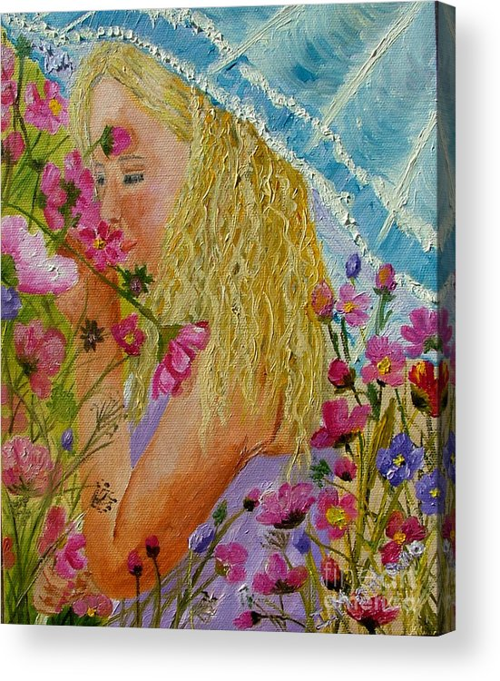 Little Girl Acrylic Print featuring the painting Girl In The Garden by Inna Montano