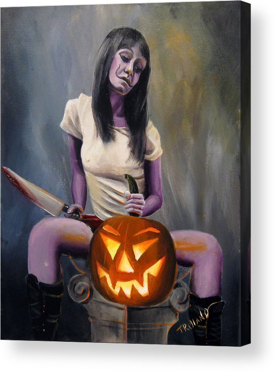 Pinup Acrylic Print featuring the painting Halloween by Matt Truiano