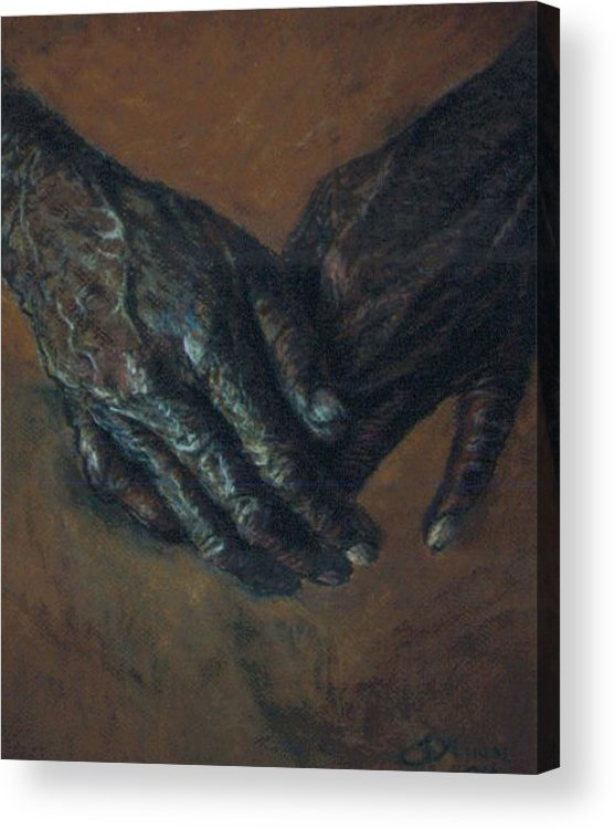 Hands Acrylic Print featuring the pastel Hands Of Time by Tommy Winn