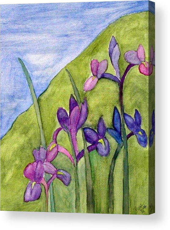 Flowers Acrylic Print featuring the painting Iris Meadow by Margie Byrne