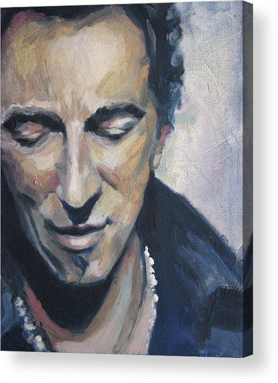 Bruce Acrylic Print featuring the painting It's Boss Time II - Bruce Springsteen Portrait by Khairzul MG