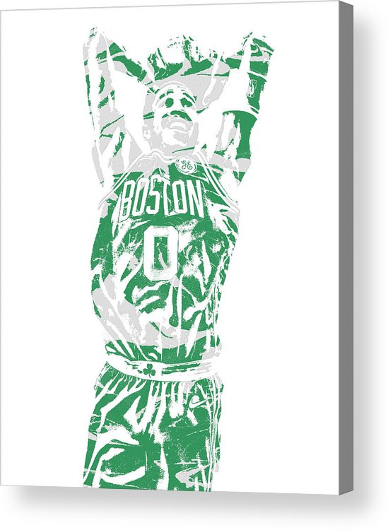 Jayson Tatum Acrylic Print featuring the mixed media Jayson Tatum Boston Celtics Pixel Art 12 by Joe Hamilton