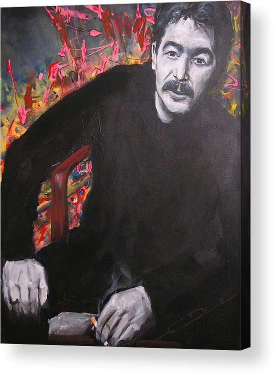 Johnny Cash Acrylic Print featuring the painting John Prine - Colors by Eric Dee