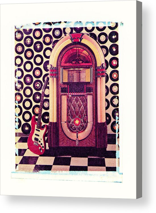 Jukebox Electric Guitar Music Rock N Roll Sound Machine Records Acrylic Print featuring the photograph Juke Box Polaroid Transfer by Garry Gay