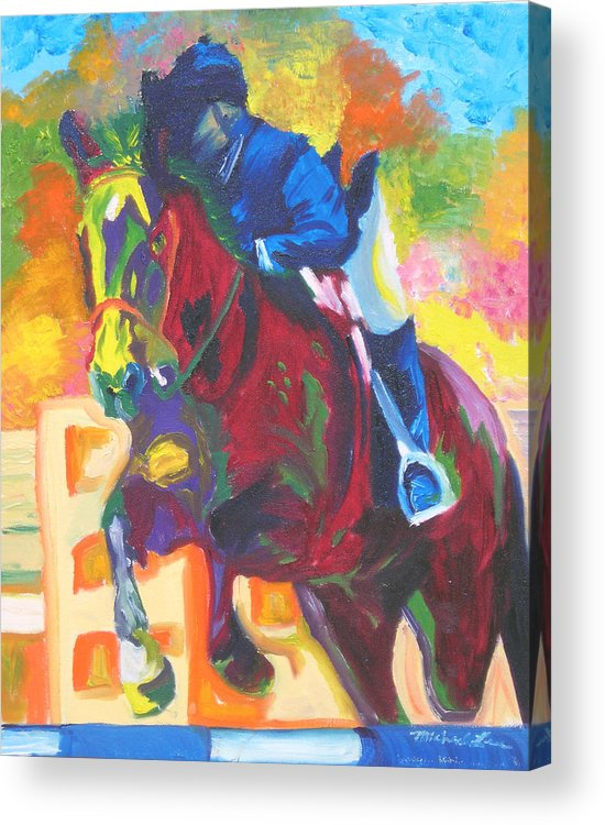 Horse Jumping Acrylic Print featuring the painting Jump Off by Michael Lee