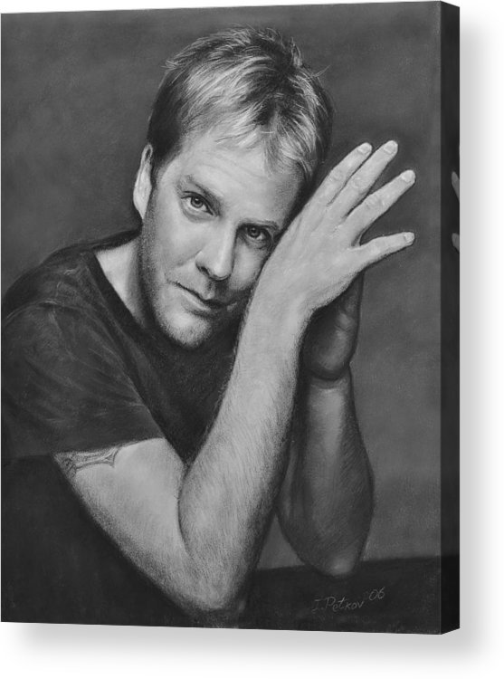 Portraits Acrylic Print featuring the drawing Kiefer Sutherland by Iliyan Bozhanov