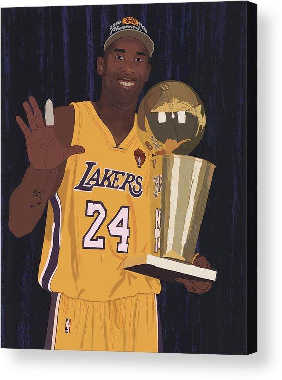 Kobe Bryant Acrylic Print featuring the digital art Kobe Bryant Five Championships by Tomas Raul Calvo Sanchez