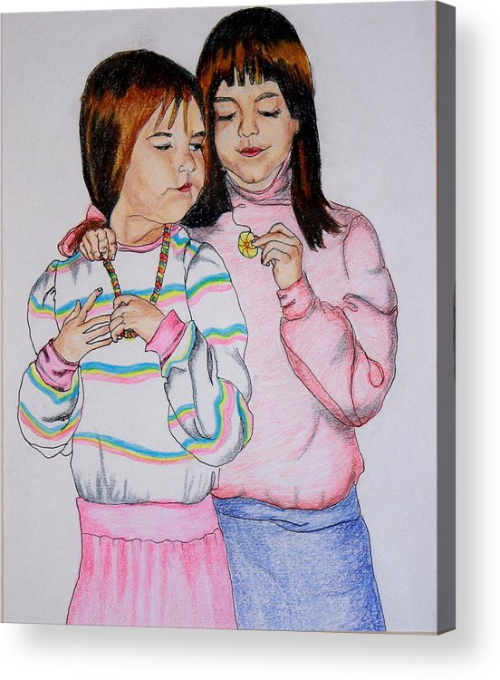 Children Acrylic Print featuring the drawing Kristin And Carrie by Sarah Hamilton