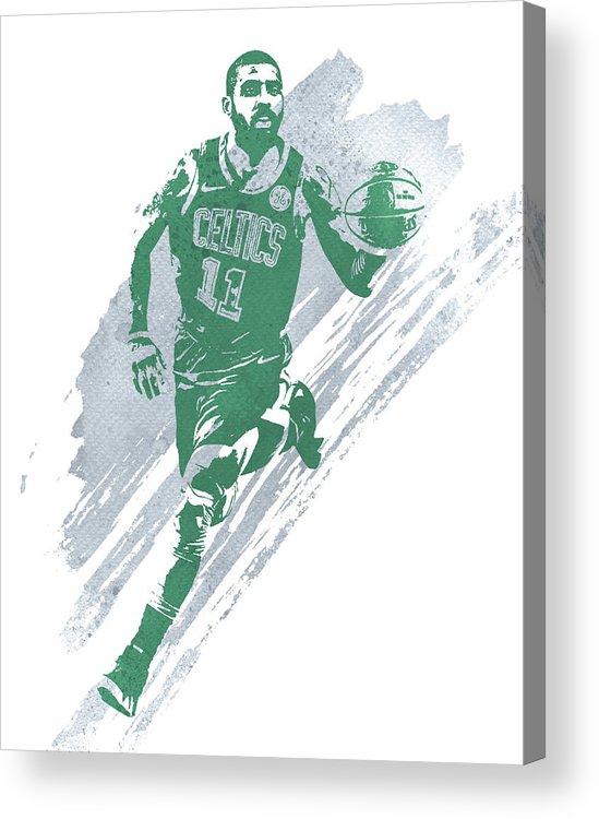 Kyrie Irving Acrylic Print featuring the mixed media Kyrie Irving Boston Celtics Water Color Art 4 by Joe Hamilton