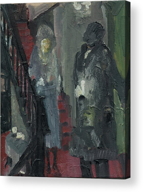 Figure Acrylic Print featuring the painting Laboheme Act 1 Stairway by Bill Collins