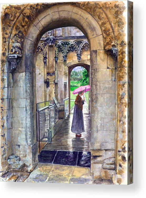Glastonbury Acrylic Print featuring the painting Lady Chapel by John D Benson