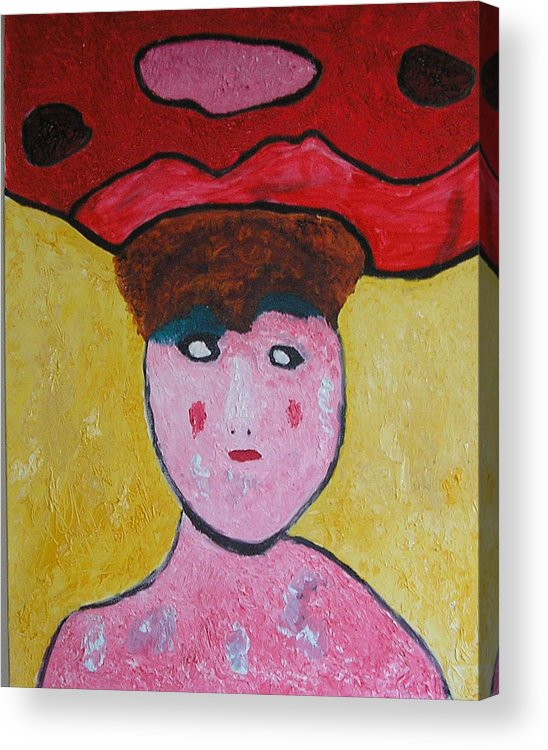 Hats Acrylic Print featuring the painting Lady In Red by Harris Gulko