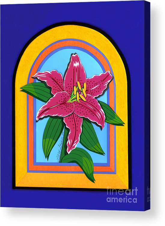 Nature Acrylic Print featuring the drawing Lily by Lucyna A M Green