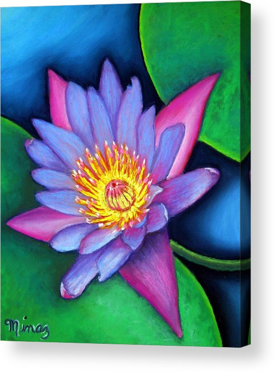 Flower Acrylic Print featuring the painting Lotus Divine by Minaz Jantz