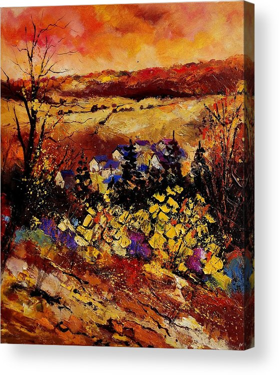 Landscape Acrylic Print featuring the painting Manhay 56 by Pol Ledent