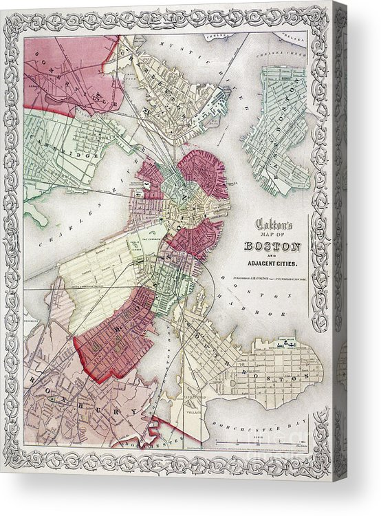 1865 Acrylic Print featuring the photograph Map: Boston, 1865 by Granger