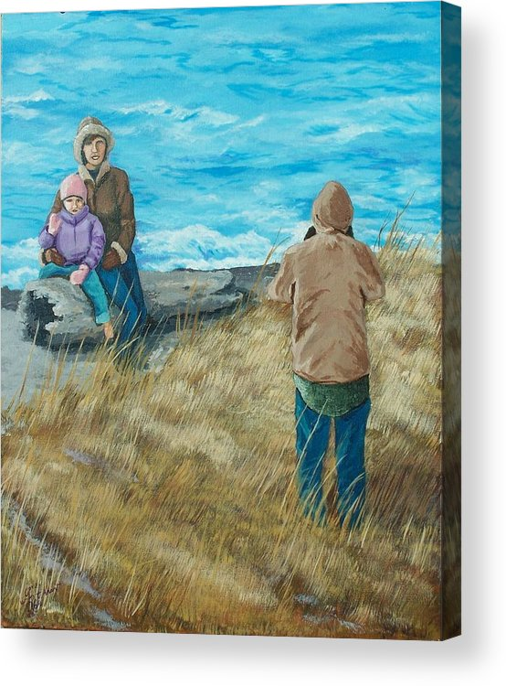 Ocean Scape Acrylic Print featuring the painting Memories Of Ocean Shores by Gene Ritchhart