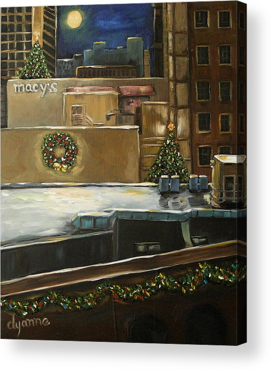 Cityscape Acrylic Print featuring the painting Merry Rooftops by Dyanne Parker