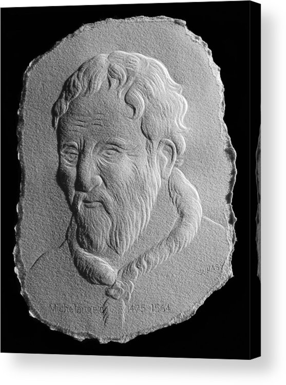 Portrait Acrylic Print featuring the relief Michelangelo by Suhas Tavkar