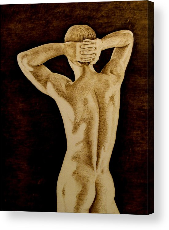 Pyrography; Sepia; Nude; Male; Back; Pointillism; Shadow; Hands; Naked; Muscles; Acrylic Print featuring the pyrography Midnight Stretch by Jo Schwartz