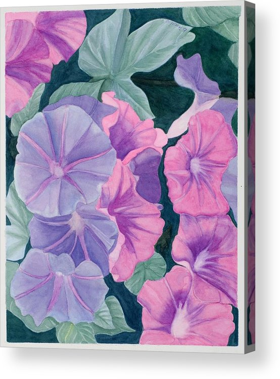 Flowers Acrylic Print featuring the painting Morning Glories by Barbara Pascal