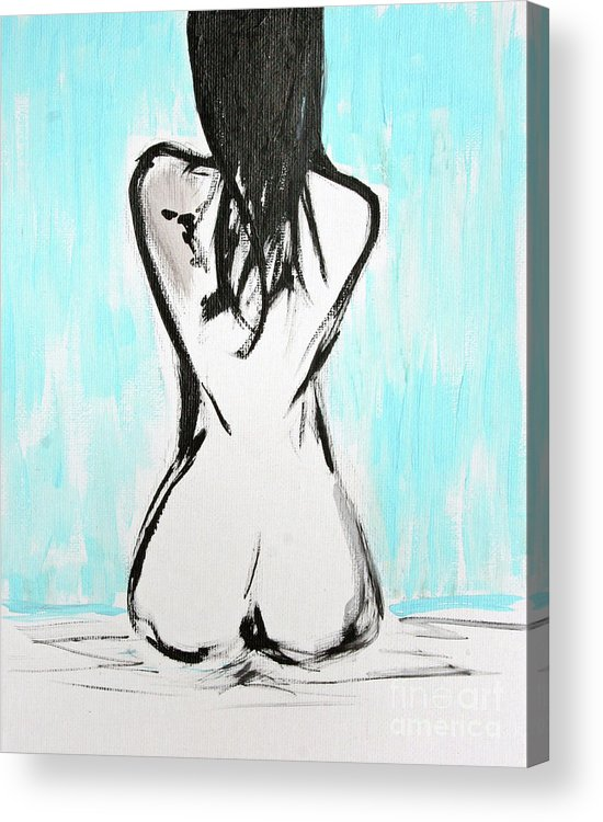Paintings Acrylic Print featuring the painting Nude Female by Julie Lueders