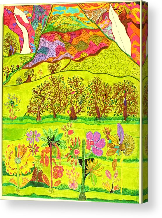 Garden Acrylic Print featuring the drawing Paradise by Eric Devan