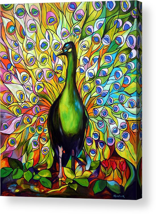 Bird Acrylic Print featuring the painting Peacock by Jose Manuel Abraham