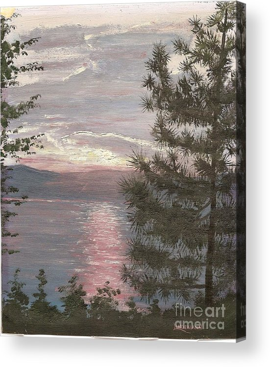 Lake Acrylic Print featuring the painting Piney Lake by Don Lindemann