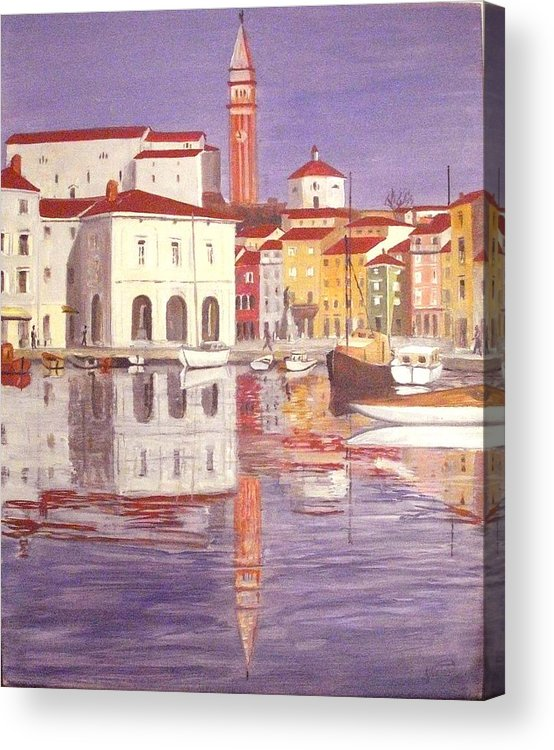 Haus Acrylic Print featuring the painting Piran by Anthony Meton