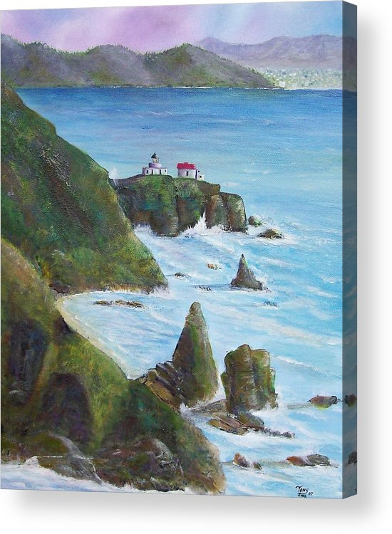 Lighthouse Acrylic Print featuring the painting Point Bonita Lighthouse by Tony Rodriguez