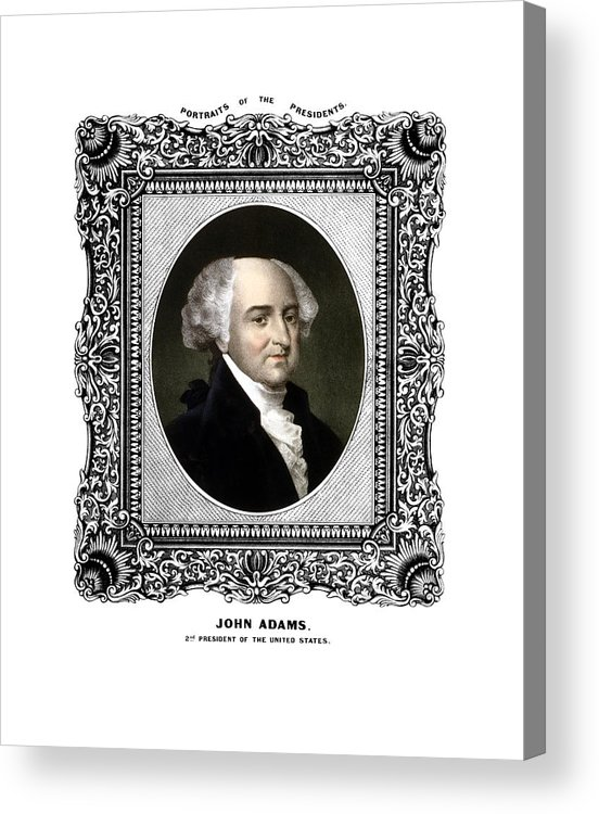John Adams Acrylic Print featuring the painting President John Adams Portrait by War Is Hell Store