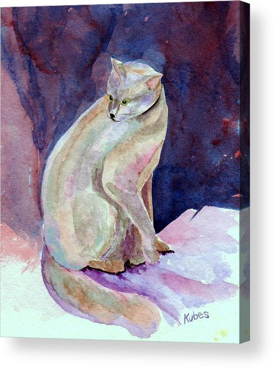 Cat Acrylic Print featuring the painting Purple Cat by Susan Kubes